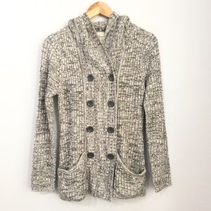 Effeci Double Breasted Hooded Cardigan Size M